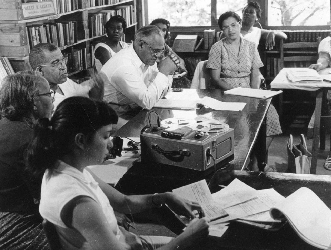 The workshop attended by Rosa Parks at the Highlander Folk School in Monteagle in the summer of 1955. Rosa Parks is seated at the end of the table in the back. 10/25/2005.