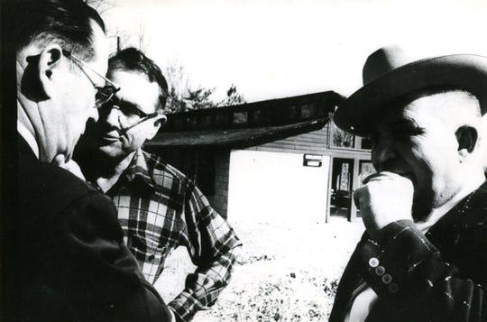 Outisde the Highlander Folk School, J.H. McCarlte, Myles Horton and Senator Barton Demont. February , 1959.