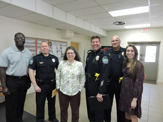 Clarence Vaughn, executive director of the Police Advisory and Review Committee; KPD Lieutenant Jason Hill; Office of Neighborhoods coordinator Debbie Sharp; KPD Lieutenant Brian Bush; KPD officer and Neighborhood Watch coordinator John Morgan; and Office of Neighborhoods assistant coordinator Eden Slater presented the first of four Neighborhood Safety Workshops at Church of the Good Shepherd on Jacksboro Pike. March 28, 2019.