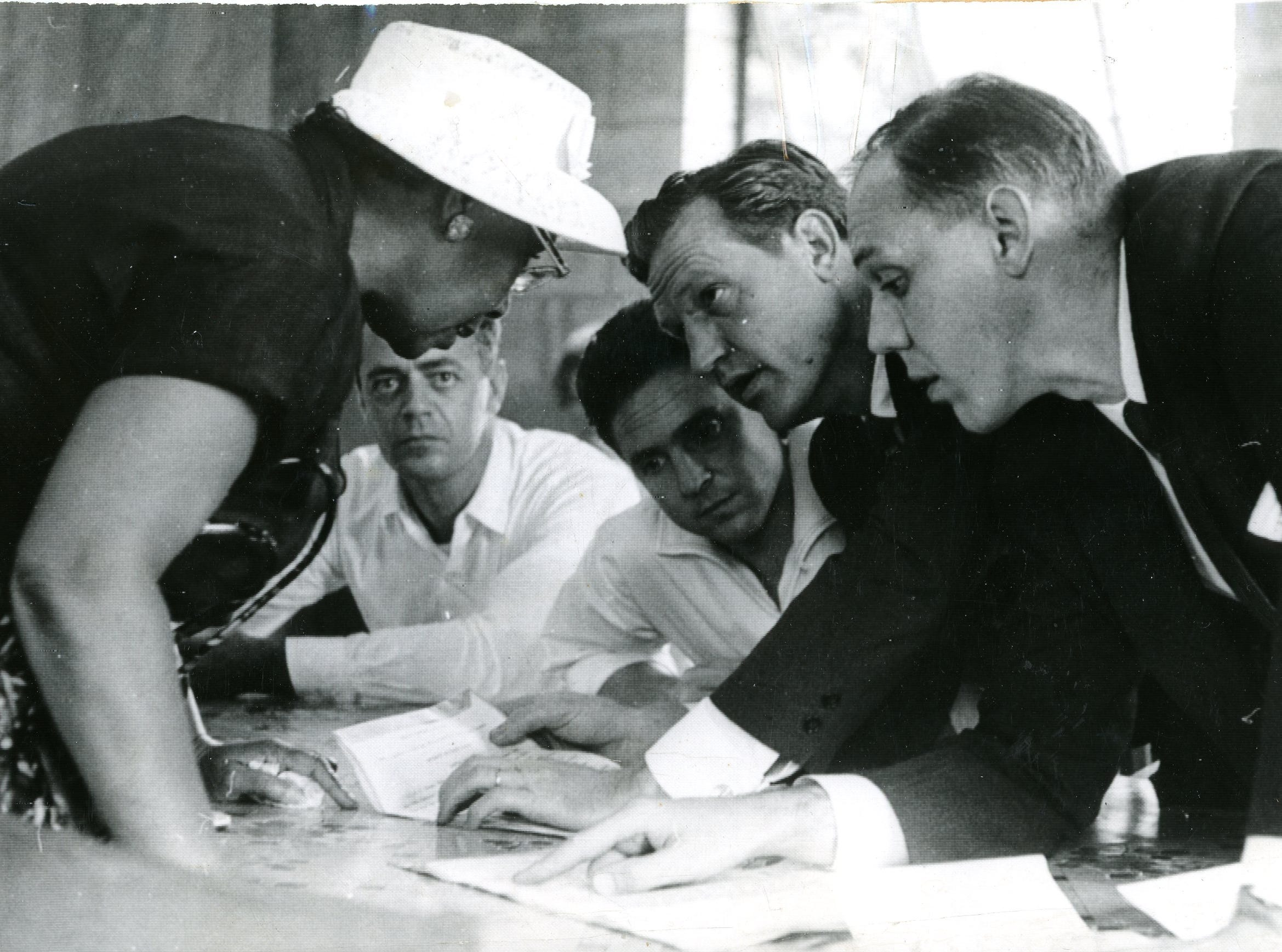 Discussing the case of the Highlander Folk School include Septima Clark, Mac Sturges, Guy Carawan, Cecil Bransteter and George Barrett. August 8, 1959.