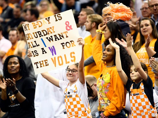 Tennessee fans cheer during a timeout during the Tennessee VolunteersÕ basketball Sweet 16 game against the Purdue Boilermakers in the NCAA Tournament held at the KFC Yum! Center in Louisville, Ky., on Thursday, March 28, 2019.