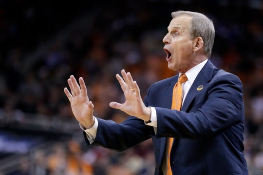 Tennessee head coach Rick Barnes shouts instructions during the second half of a men's NCAA Tournament college basketball South Regional semifinal game against Purdue Thursday, March 28, 2019, in Louisville, Ky. (