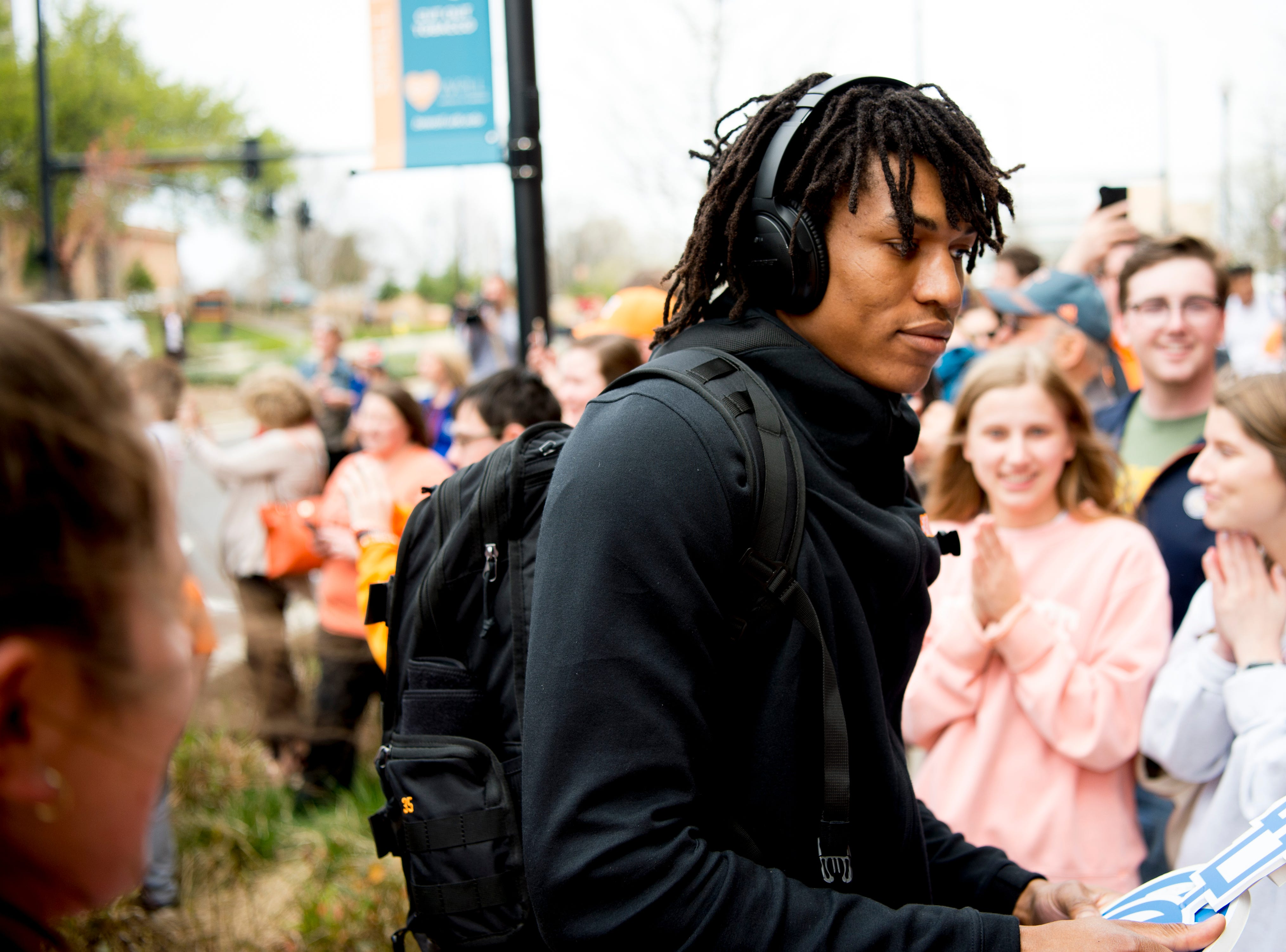 Tennessee guard/forward Yves Pons (35) greets fans upon returning to Stokley Hall in Knoxville, Tennessee on Friday, March 29, 2019. The Vols fell to Purdue Thursday night during the Sweet 16 of the NCAA tournament.
