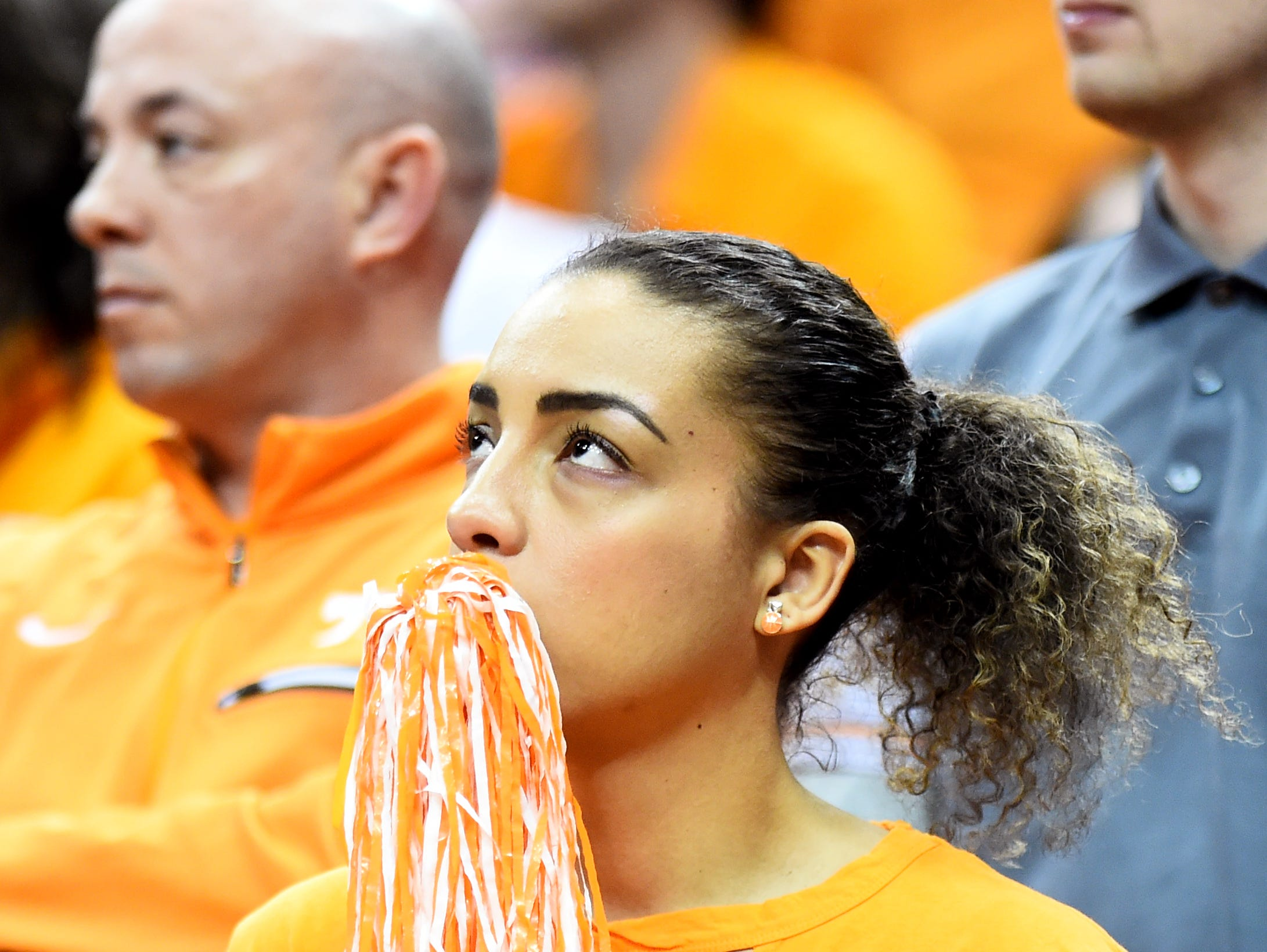 Tennessee fans watch on in the last seconds of the Tennessee VolunteersÕ basketball Sweet 16 game against the Purdue Boilermakers in the NCAA Tournament held at the KFC Yum! Center in Louisville, Ky., on Thursday, March 28, 2019.