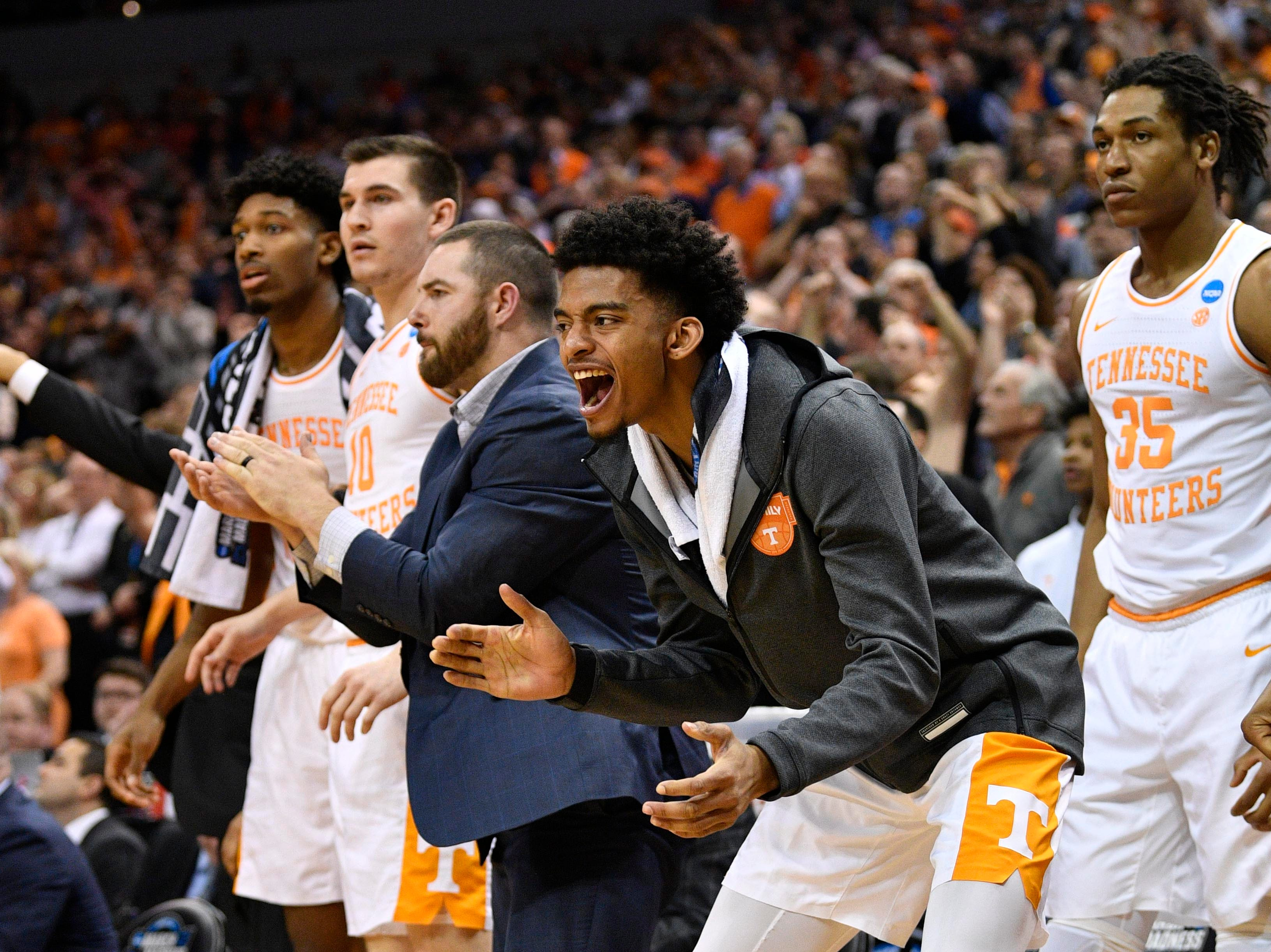 Mar 28, 2019; Louisville, KY, United States; Players react on the Tennessee Volunteers bench during the second half in the semifinals of the south regional against the Purdue Boilermakers of the 2019 NCAA Tournament at KFC Yum Center. Mandatory Credit: Jamie Rhodes-USA TODAY Sports