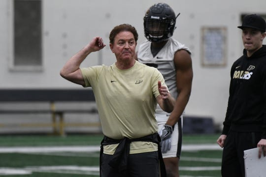 New Purdue cornerbacks coach Greg Brown at spring practice