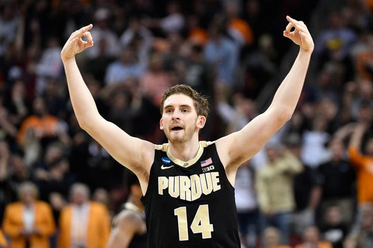 Mar 28, 2019; Louisville, KY, United States; Purdue Boilermakers guard Ryan Cline (14) reacts during the second half in the semifinals of the south regional against the Tennessee Volunteers of the 2019 NCAA Tournament at KFC Yum Center. Mandatory Credit: Jamie Rhodes-USA TODAY Sports