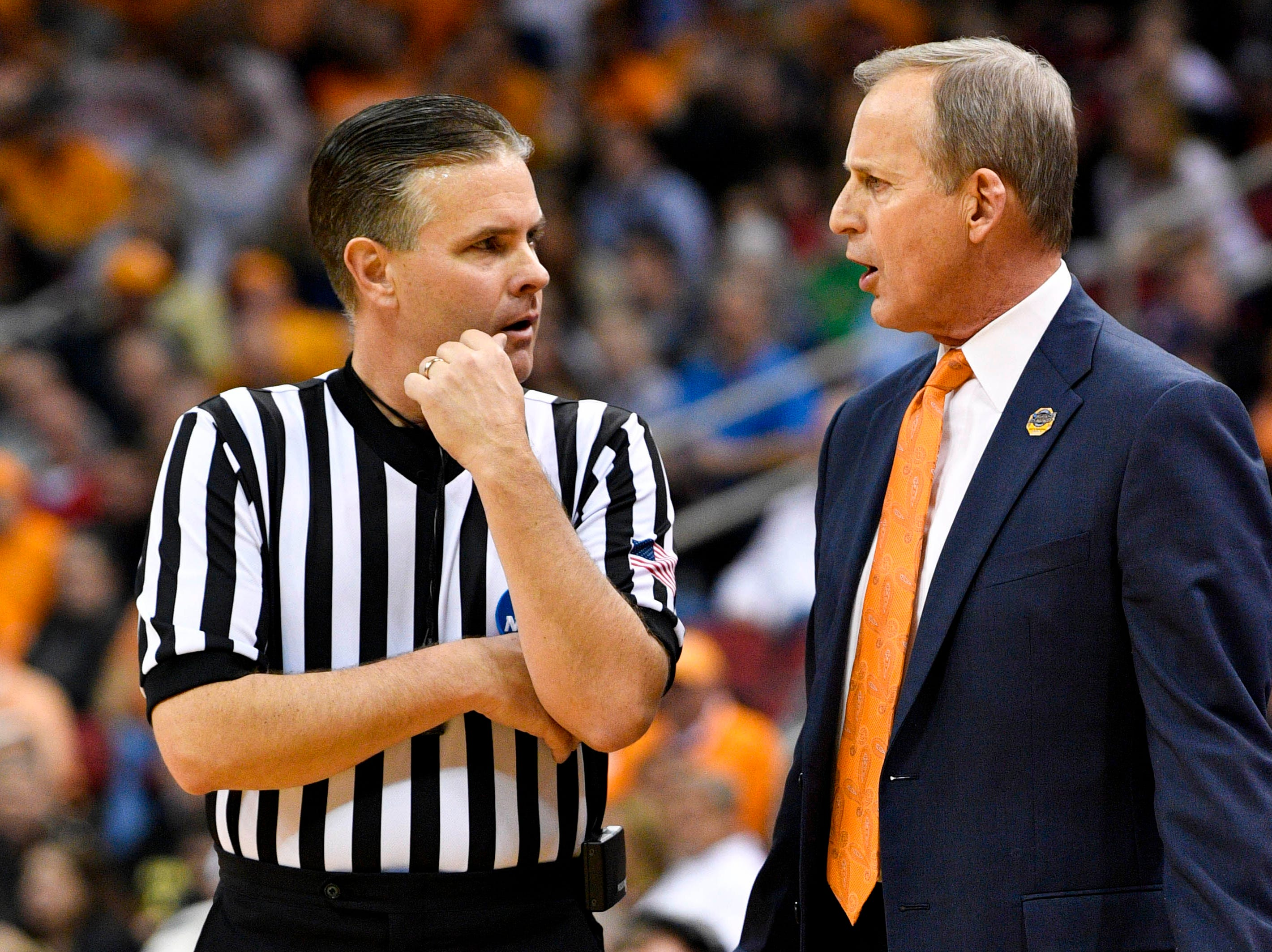 Mar 28, 2019; Louisville, KY, United States; Tennessee Volunteers head coach Rick Barnes speaks to an official during the first half in the semifinals of the south regional against the Purdue Boilermakers of the 2019 NCAA Tournament at KFC Yum Center. Mandatory Credit: Jamie Rhodes-USA TODAY Sports
