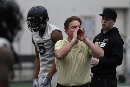 New Purdue cornerbacks Greg Brown at spring practice