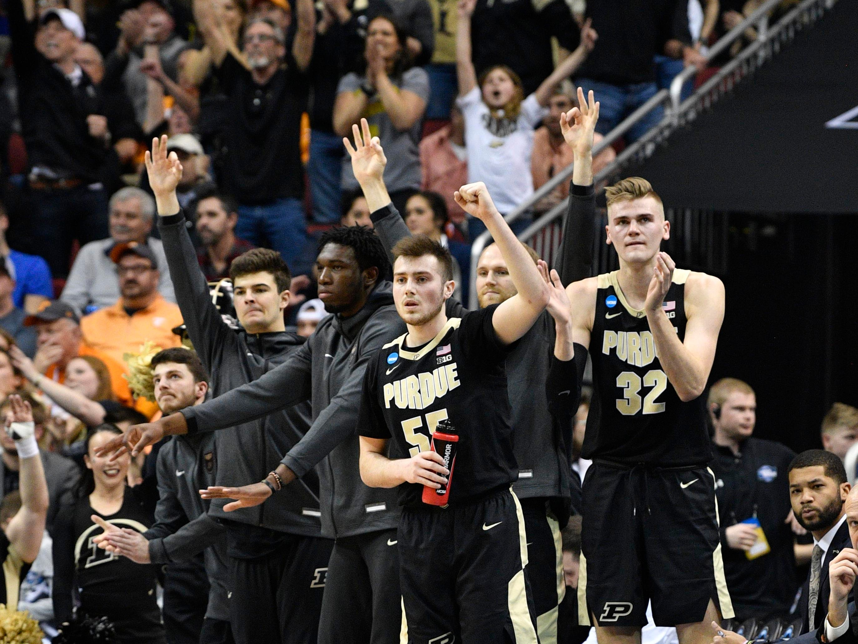 Mar 28, 2019; Louisville, KY, United States; Purdue Boilermakers team members react from the bench during the first half in the semifinals against the Tennessee Volunteers of the south regional of the 2019 NCAA Tournament at KFC Yum Center. Mandatory Credit: Jamie Rhodes-USA TODAY Sports