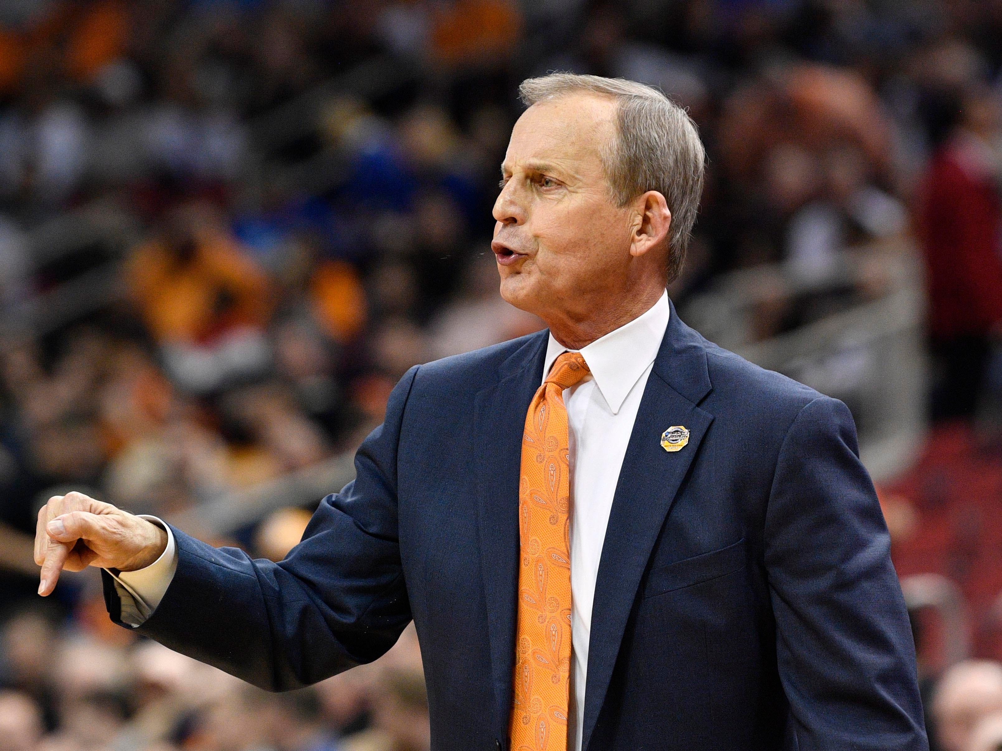 Mar 28, 2019; Louisville, KY, United States; Tennessee Volunteers head coach Rick Barnes reacts during the first half in the semifinals of the south regional against the Purdue Boilermakers of the 2019 NCAA Tournament at KFC Yum Center. Mandatory Credit: Jamie Rhodes-USA TODAY Sports