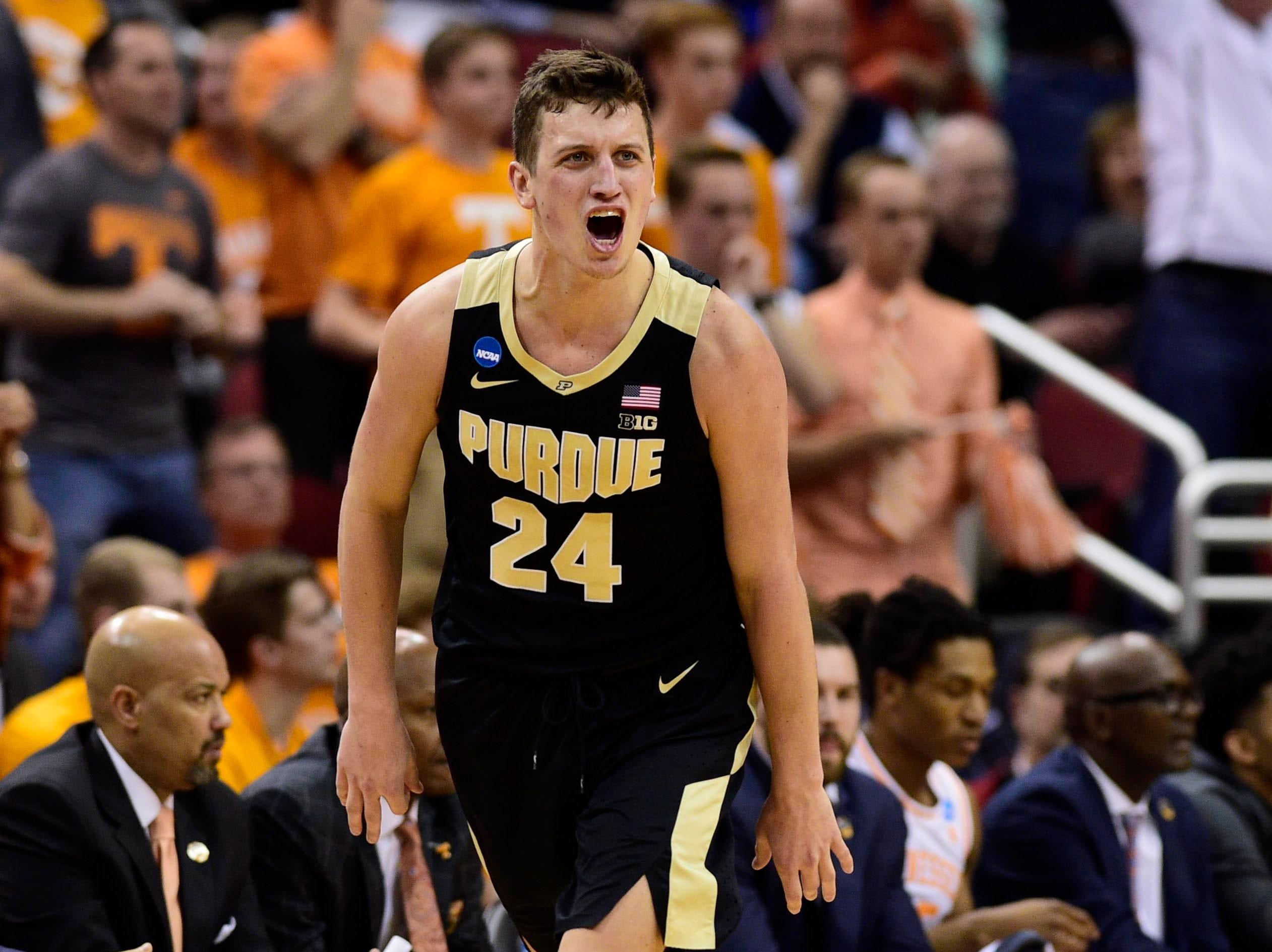 Mar 28, 2019; Louisville, KY, United States; Purdue Boilermakers forward Grady Eifert (24) reacts during the first half in the semifinals of the south regional against the Tennessee Volunteers of the 2019 NCAA Tournament at KFC Yum Center. Mandatory Credit: Thomas J. Russo-USA TODAY Sports