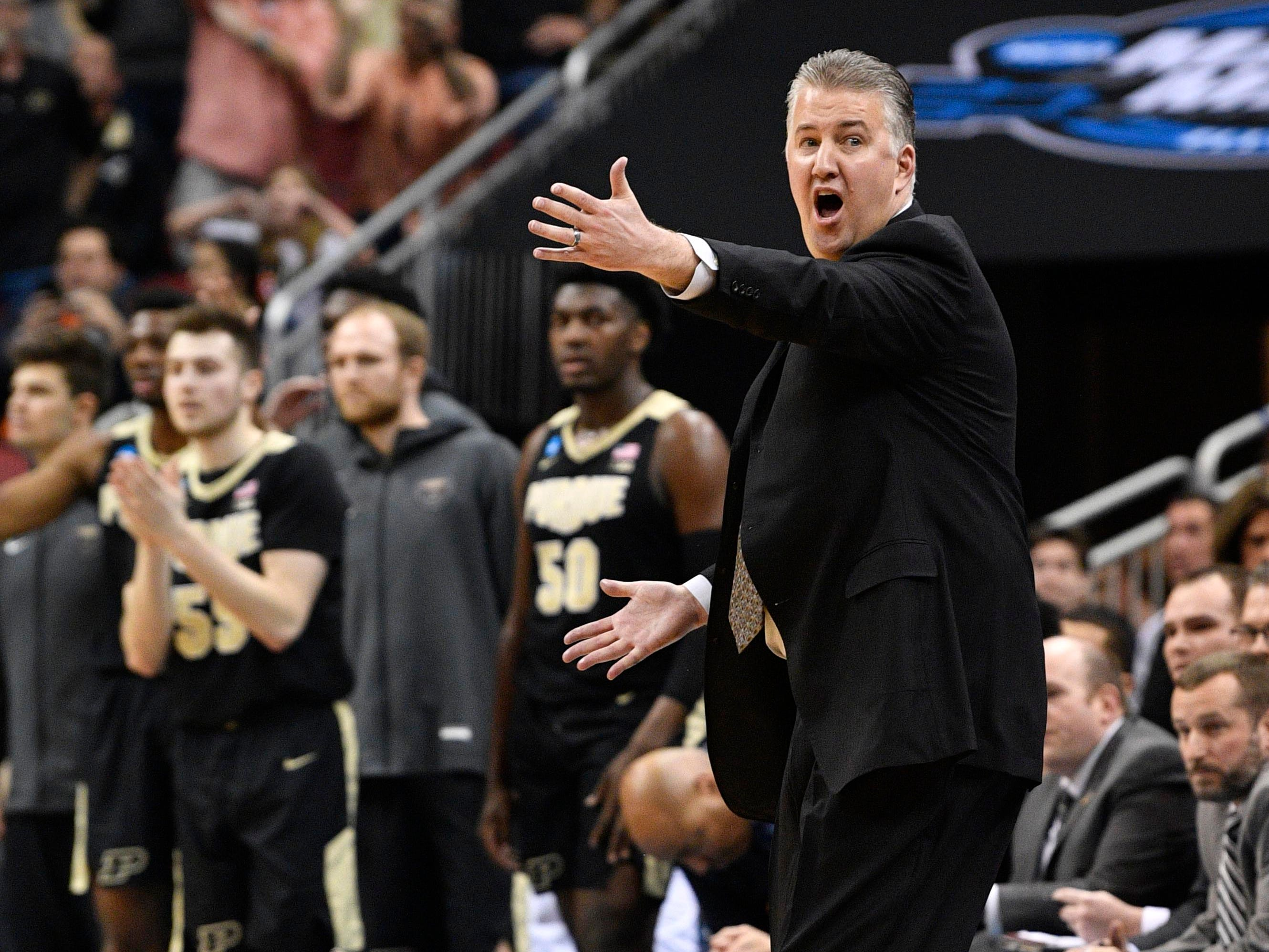 Mar 28, 2019; Louisville, KY, United States; Purdue Boilermakers head coach Matt Painter reacts during the first half in the semifinals of the south regional against the Tennessee Volunteers of the 2019 NCAA Tournament at KFC Yum Center. Mandatory Credit: Jamie Rhodes-USA TODAY Sports