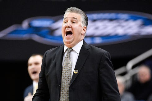 Mar 28, 2019; Louisville, KY, United States; Purdue Boilermakers head coach Matt Painter reacts during overtime in the semifinals of the south regional against the Tennessee Volunteers of the 2019 NCAA Tournament at KFC Yum Center. Mandatory Credit: Jamie Rhodes-USA TODAY Sports