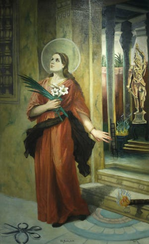 """A painting by the late Sister Rufinia titled """"St. Agatha."""" Sister Rufinia was a Lafayette nun and one of the most prolific art teachers and artists in Lafayette in the first half of the 20th century."""