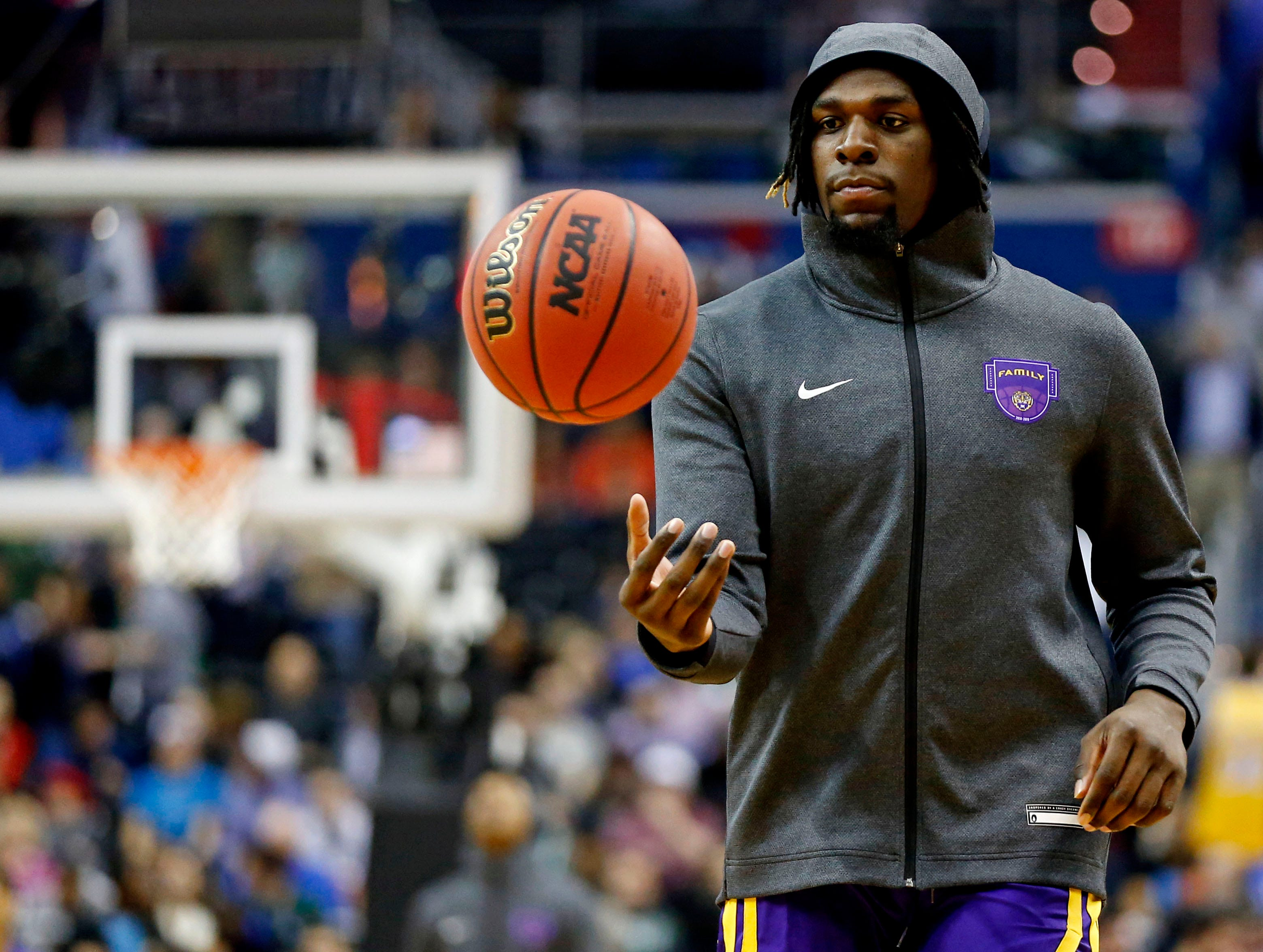Mar 29, 2019; Washington, DC, USA; LSU Tigers forward Naz Reid (0) warms up before the game against the Michigan State Spartans in the semifinals of the east regional of the 2019 NCAA Tournament at Capital One Arena. Mandatory Credit: Amber Searls-USA TODAY Sports