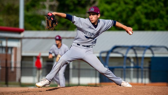 Cougars starting pitcher John Moody on the mound as Teurlings Catholic host St Thomas More baseball. Thursday, March 28, 2019.