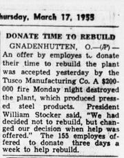 This article ran in the March 17, 1955 Lancaster Eagle-Gazette