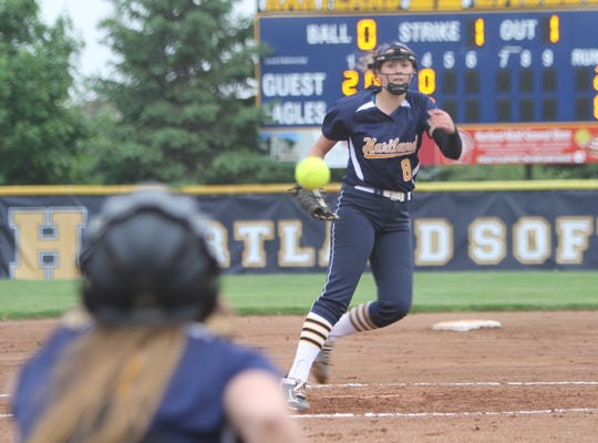 Hartland pitcher Rachel Everett made all-state as a freshman, walking only five batters in 165 innings.