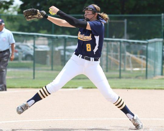 Rachel Everett pitched Hartland to the state softball championship game as a freshman last season.