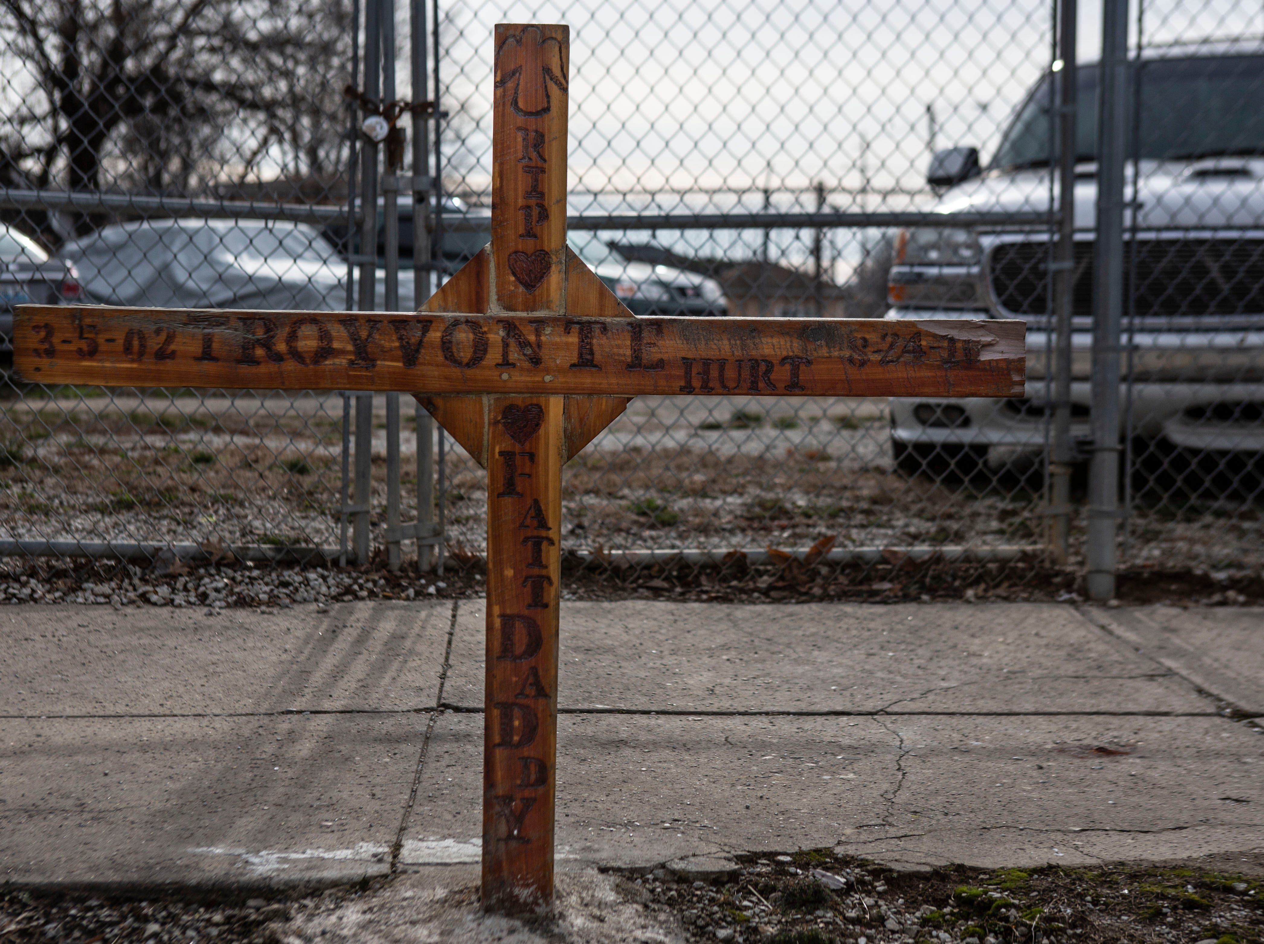 A cross was erected in memory of Troyvonte Hurt, 14, near the site of his murder at Clay and Jacob streets. Hurt was shot in the head during a drive-by shooting, in 2016. Jan 11, 2019.