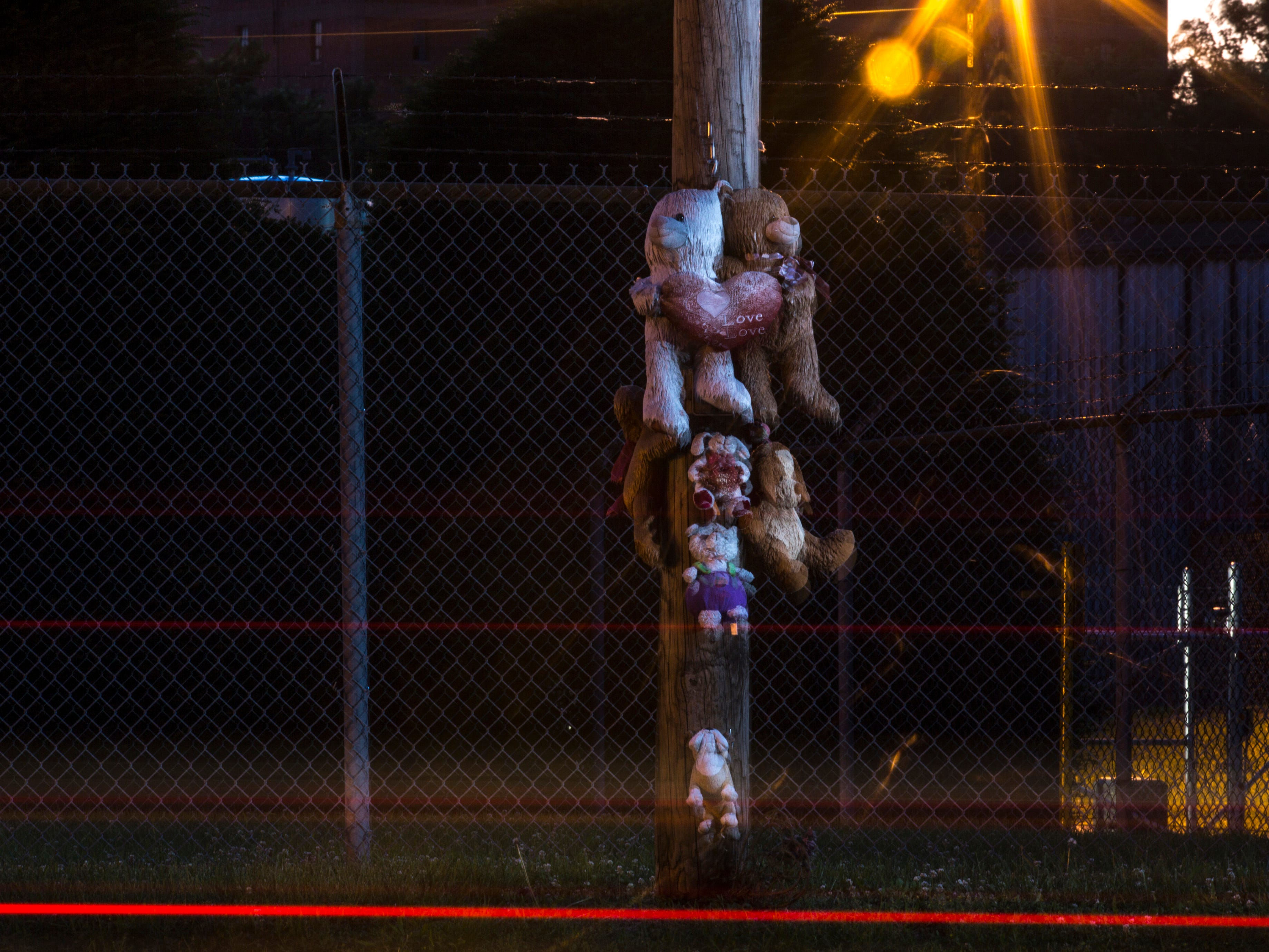 """A """"murder bear"""" shrine was placed on a utility pole, signifying the site of a violent death.  June 6, 2018."""