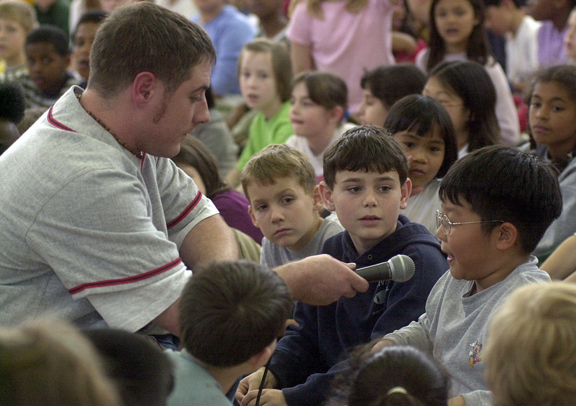"Matt ""Mojo"" Lersch was a longtime Q106-FM radio personality. He's seen here in 2001 participating in a Lansing Lugnuts event for elementary school children."