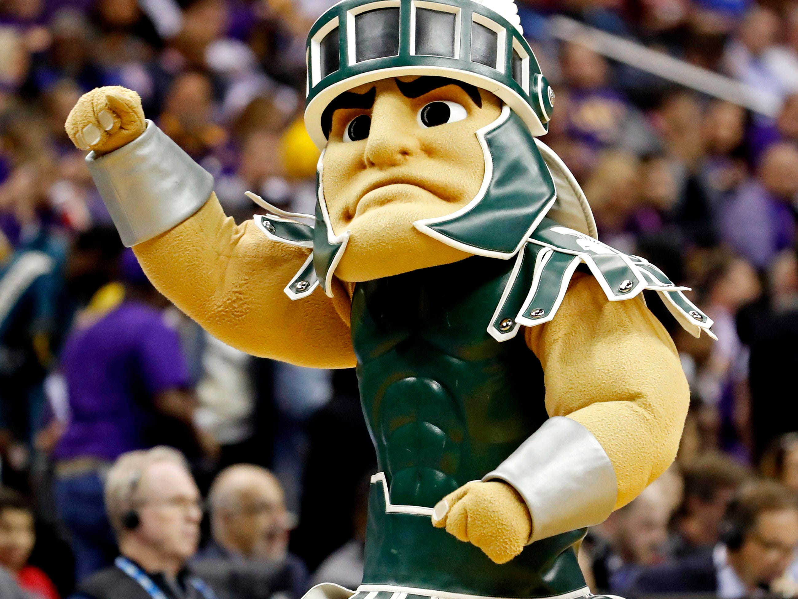Mar 29, 2019; Washington, DC, USA; The Michigan State Spartans mascot on the court during the first half against the LSU Tigers in the semifinals of the east regional of the 2019 NCAA Tournament at Capital One Arena. Mandatory Credit: Geoff Burke-USA TODAY Sports