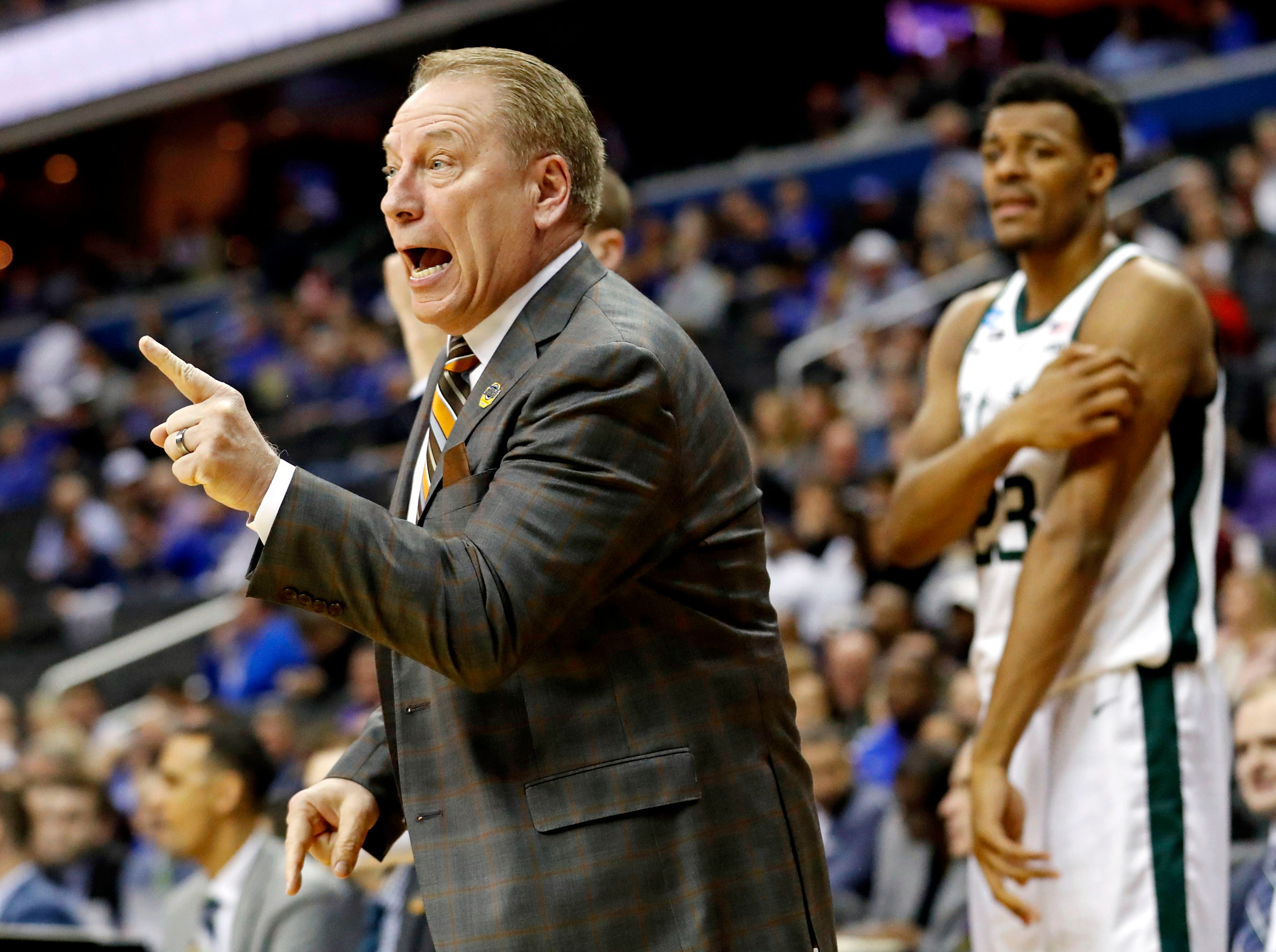 Mar 29, 2019; Washington, DC, USA; Michigan State Spartans head coach Tom Izzo reacts during the first half against the LSU Tigers in the semifinals of the east regional of the 2019 NCAA Tournament at Capital One Arena. Mandatory Credit: Geoff Burke-USA TODAY Sports
