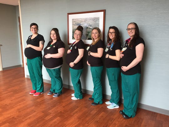 Emily Walden, Ashley Grissom, Lindse Theaker,  Jenna Haworth, Riley Milbourne and Danielle Malone all work in Sparrow's neurology unit and are simultaneously pregnant.