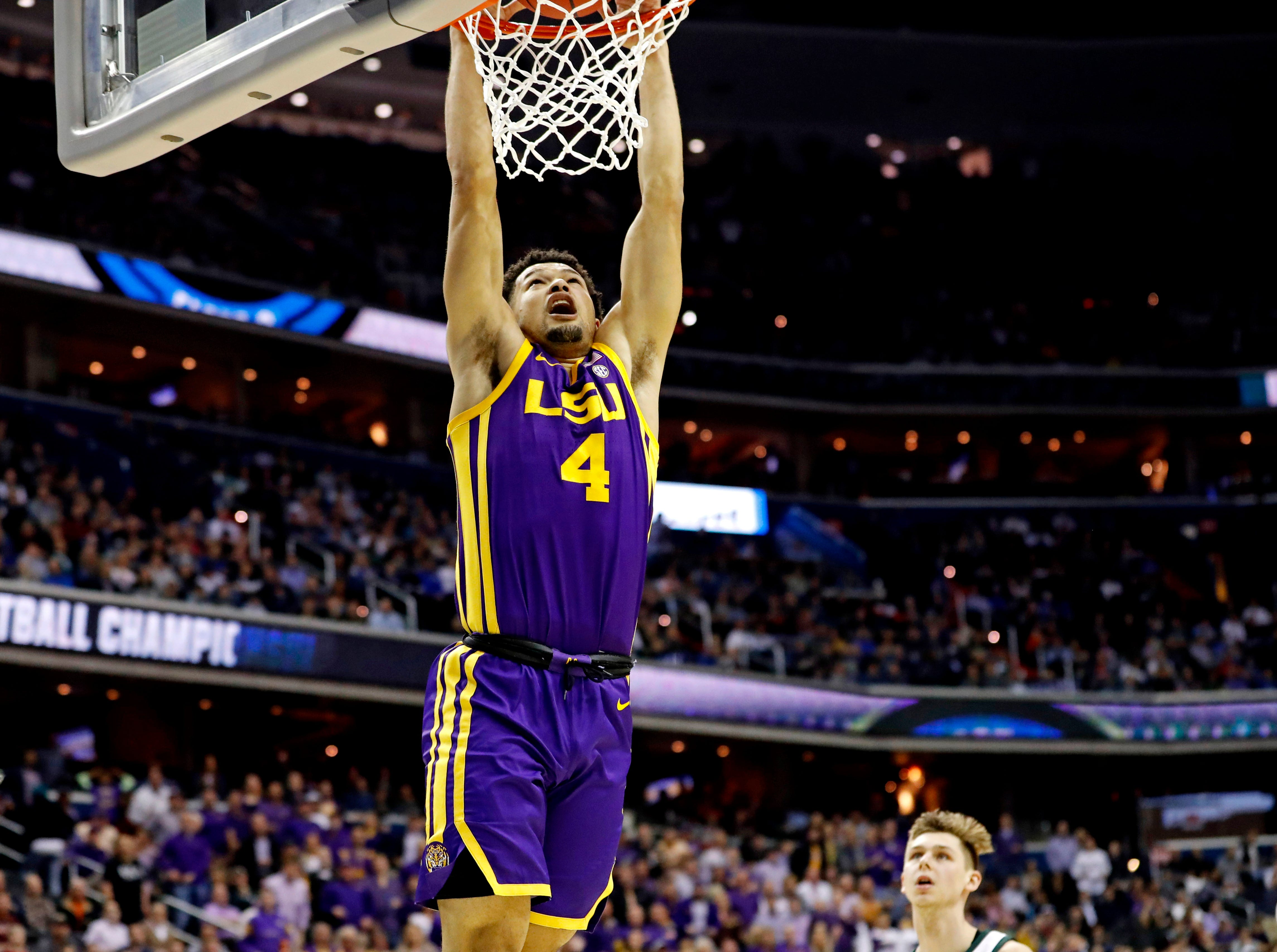 Mar 29, 2019; Washington, DC, USA; LSU Tigers guard Skylar Mays (4) dunks the ball \1h\ against the Michigan State Spartans in the semifinals of the east regional of the 2019 NCAA Tournament at Capital One Arena. Mandatory Credit: Geoff Burke-USA TODAY Sports