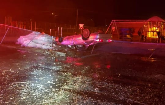 A vehicle crashed near Grant Elementary School after a police chase Thursday night.
