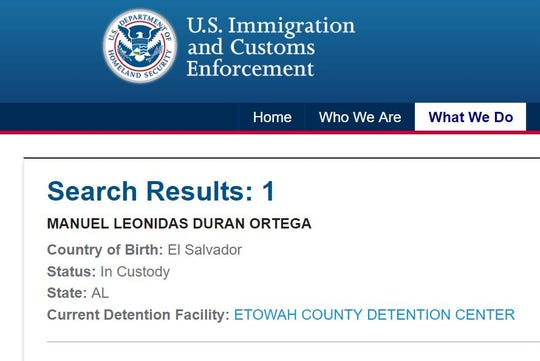 A screenshot taken on March 29, 2019, from the inmate locator tool on the U.S. Immigration and Customs Enforcement website shows Manuel Duran is at the Etowah County Detention Center.