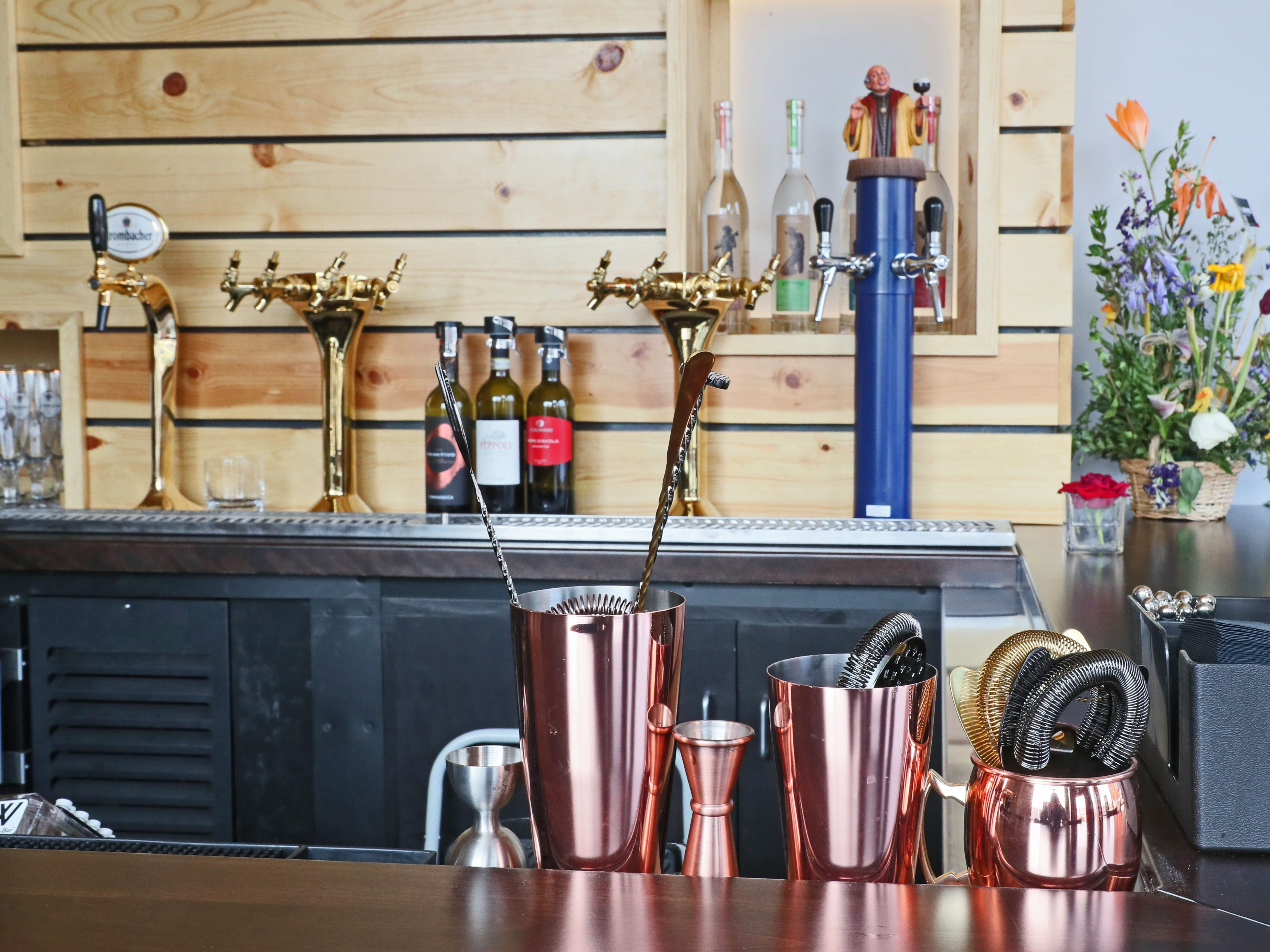 The bar is bright and colorful at  Baccanera Enoteca, a new wine bar at 1732 E. North Ave in Milwaukee.