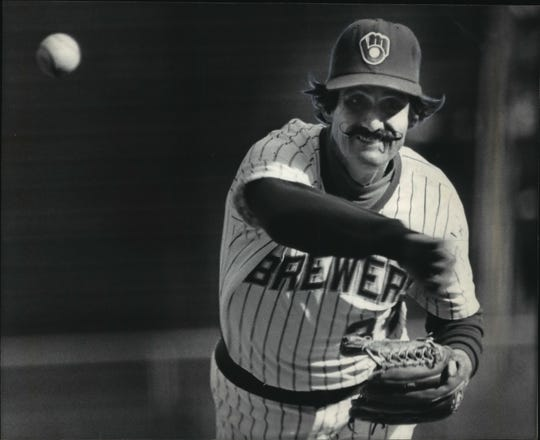 Rollie Fingers throws a pitch in 1984 after returning from injury.