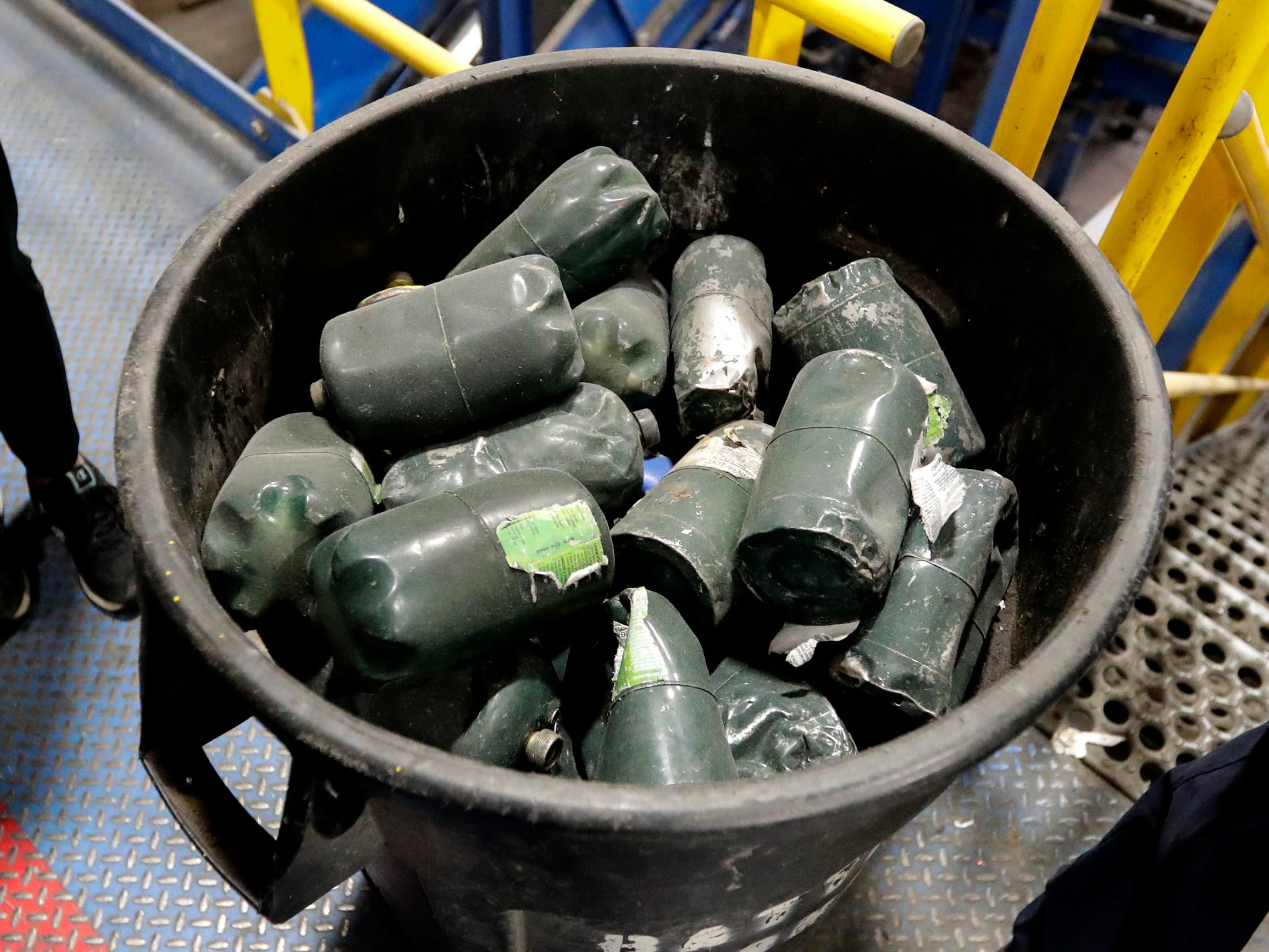 Residents put small propane tanks for camping stoves in recycling bins. These items can explode and should not should be recycled.