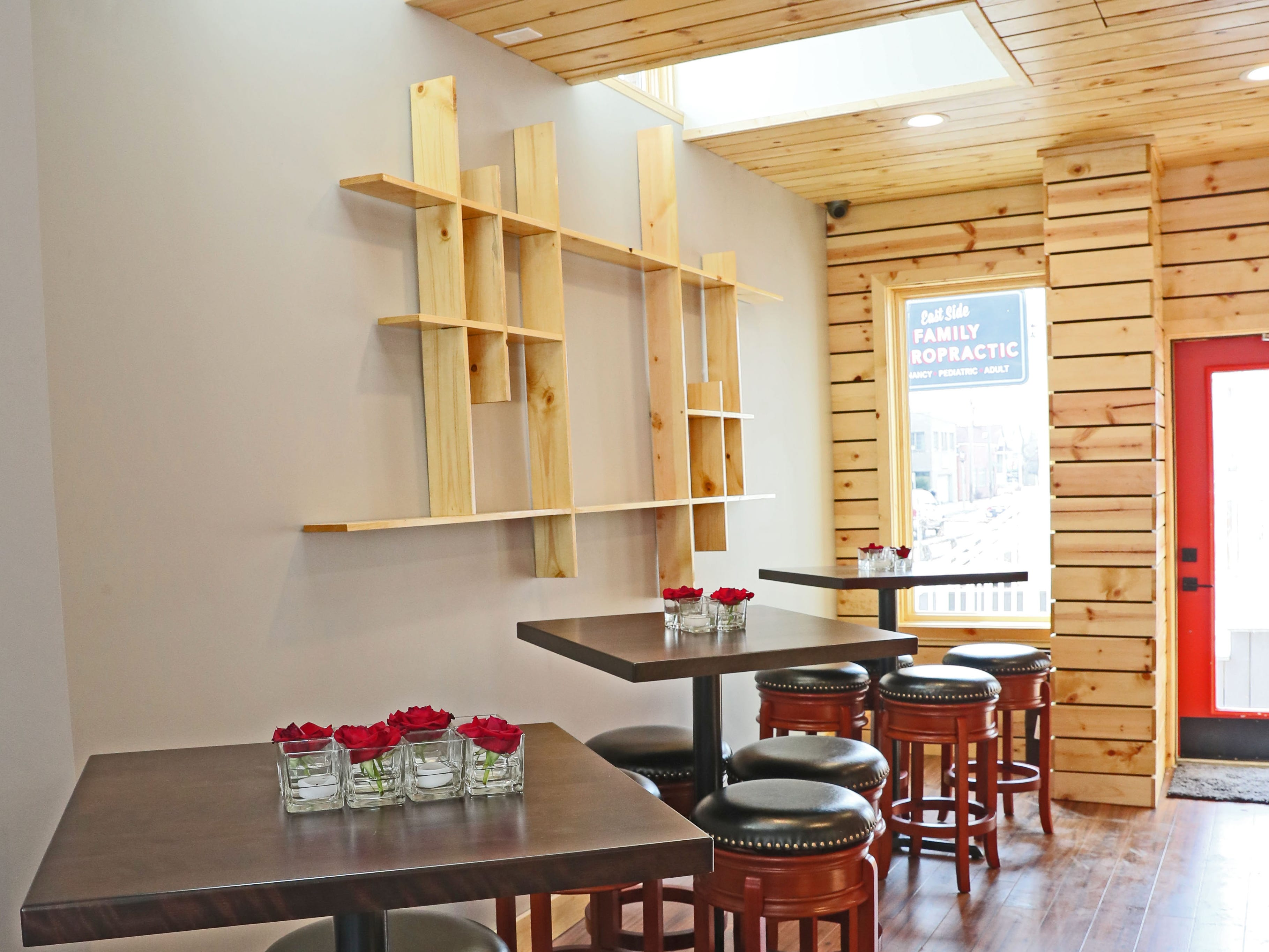 Baccanera is a new wine bar at 1732 E. North Ave in Milwaukee.    Skylights brighten up the this seating area.