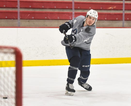 Left wing Adam Helewka is among the players who joined the Admirals mid-season. He has five goals and seven assists in 17 games since coming from Tucson.