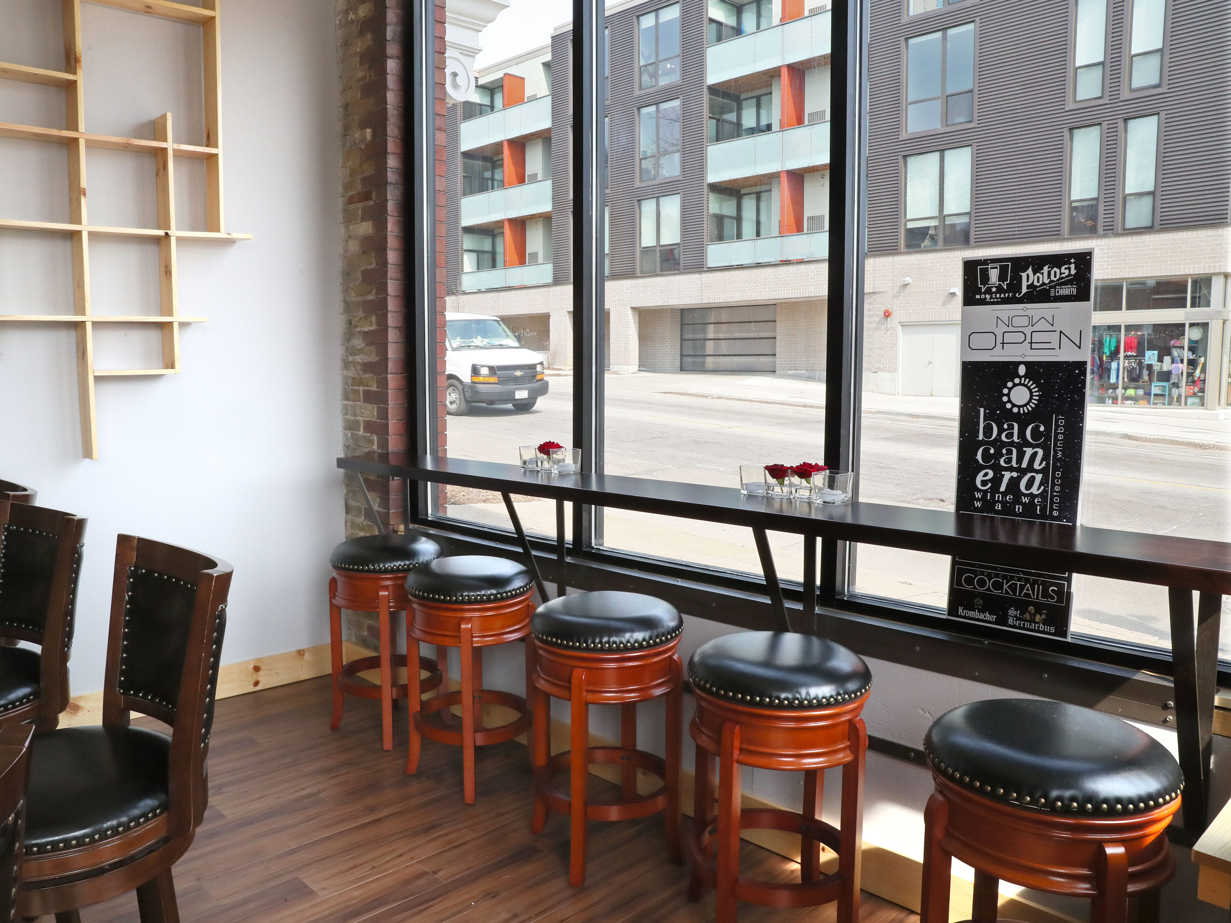 The seating area at Baccanera, a new wine bar at 1732 E. North Ave in Milwaukee.