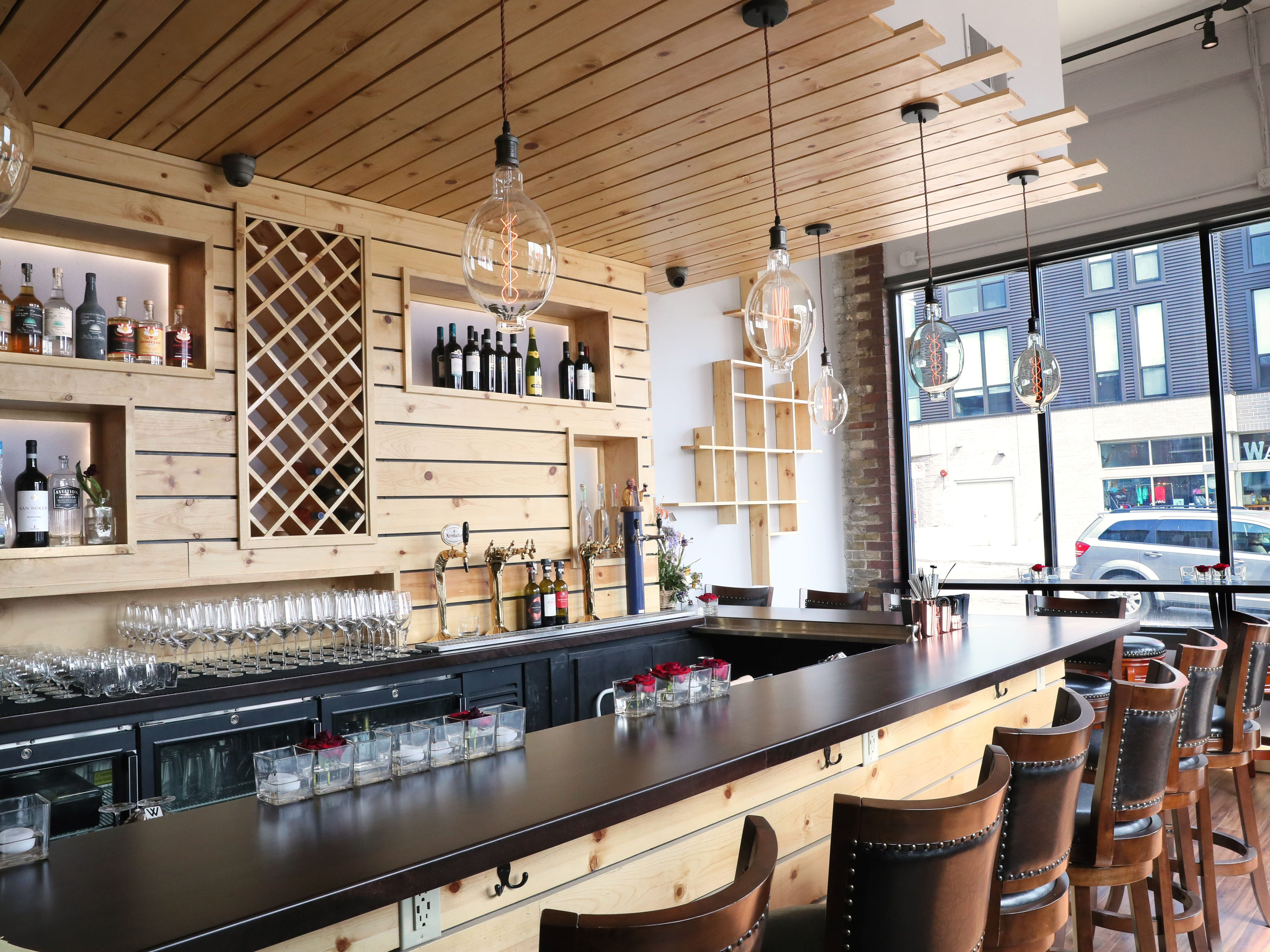 An interior view of the bar at Baccanera, a new wine bar at 1732 E. North Ave in Milwaukee.