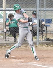 Yellville-Summit's Cody Sutterfield lines a base hit against Flippin on Thursday.