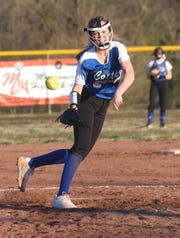 Cotter's Kaylee Crownover pitches during a recent game at Lady Warrior Field.