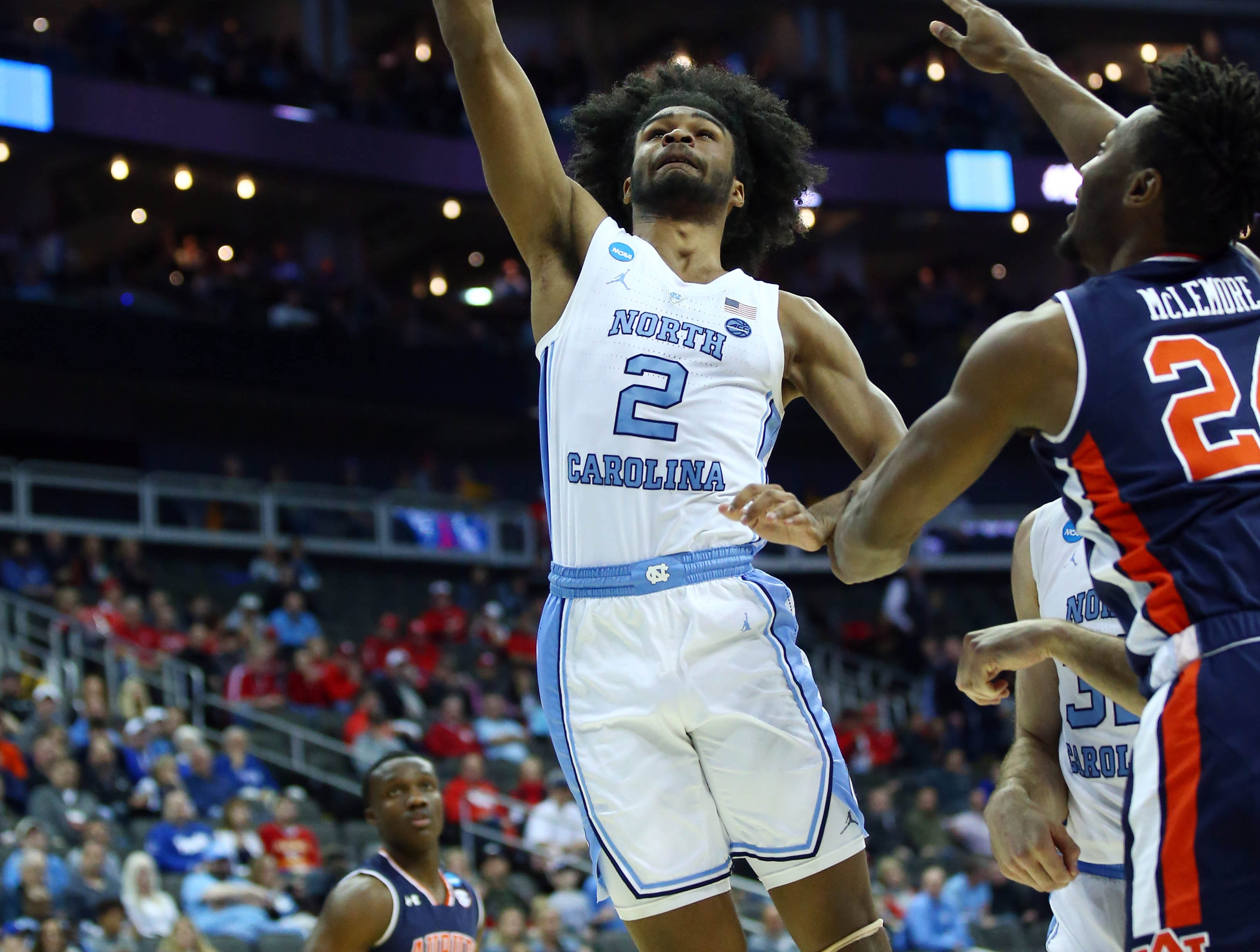 Mar 29, 2019; Kansas City, MO, United States; North Carolina Tar Heels guard Coby White (2) shoots against the Auburn Tigers during the first half in the semifinals of the midwest regional of the 2019 NCAA Tournament at Sprint Center. Mandatory Credit: Jay Biggerstaff-USA TODAY Sports