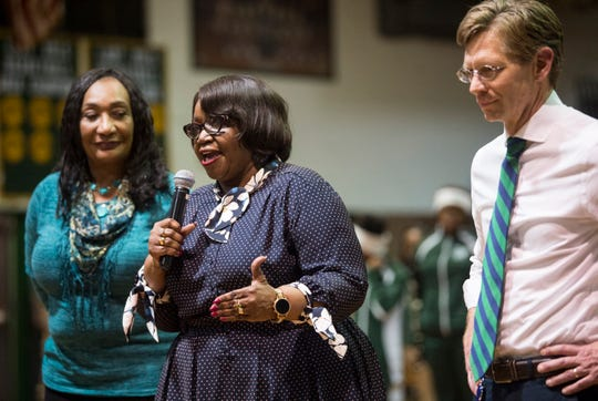 MPS Superintendent Ann Roy Moore, school board member Claudia Thomas-Mitchell and State Superintendent Eric Mackey speak in March 2019.
