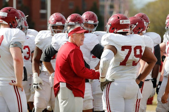 Alabama offensive line coach Kyle Flood works with the offensive line during a recent spring practice March 26, 2019. (Photo by Kent Gidley, Alabama athletics)