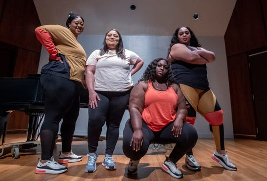 The Alabama State University Honey Beez dance team, from left, Alexis Garrett, Andriea Hanna, Johnae Dean and Asia Banks, on the ASU campus in Montgomery, Ala., on Thursday March 28, 2019.