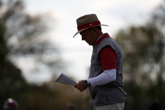 Alabama head football coach Nick Saban walks around during a recent spring practice on March 26, 2019 in Tuscaloosa. (Photo by Kent Gidley/Alabama athletics)