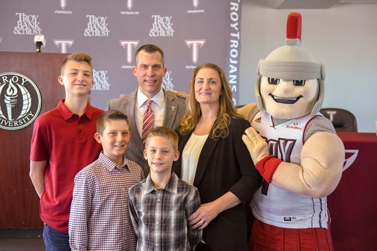 Troy new men's basketball coach Scott Cross and his family.