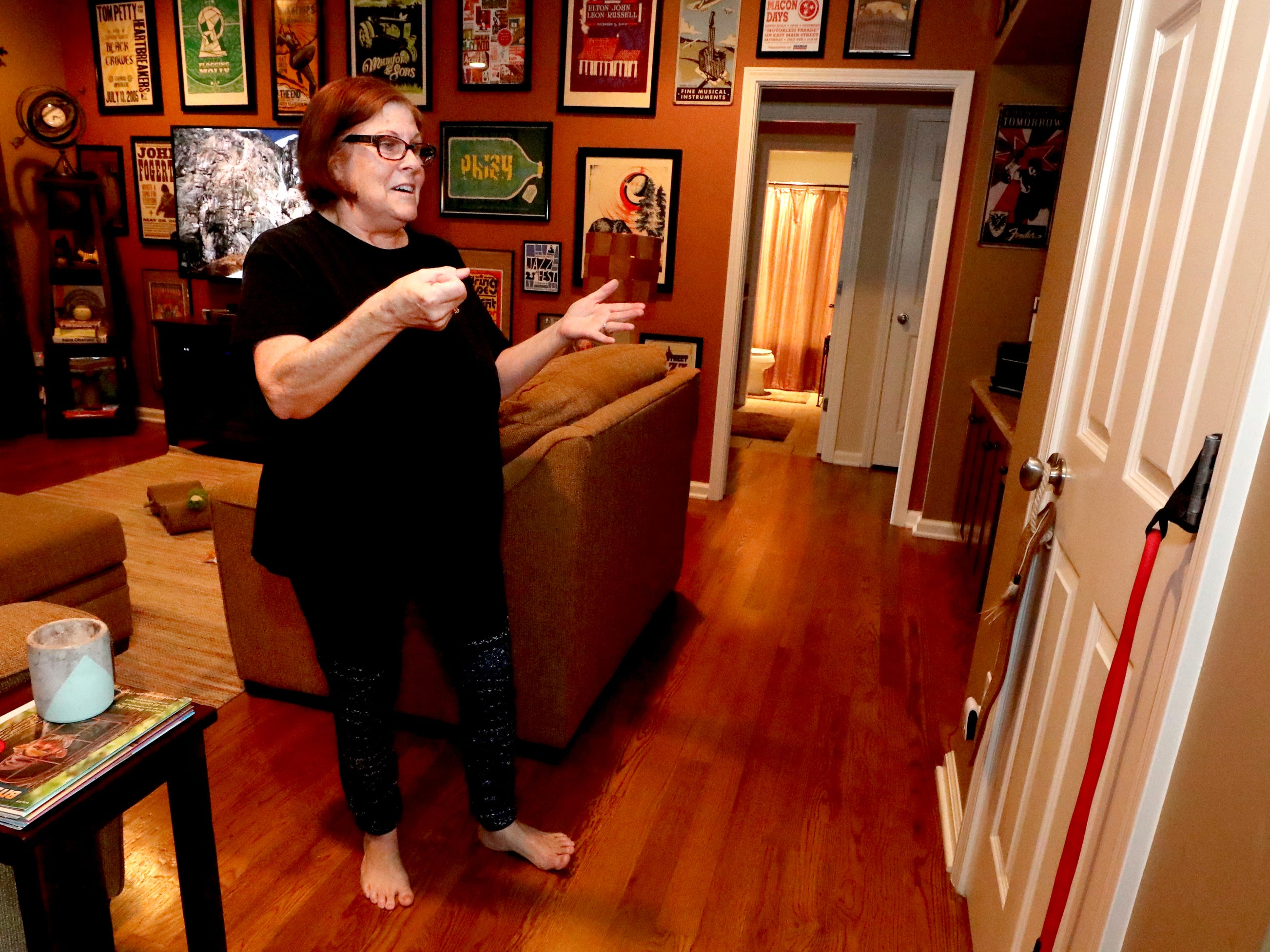 Teresa Bickford stands in her new home, on Wednesday March 27, 2019, around the area where her son Sam Bickford pushed her into the closet to save her life when the 2009 Good Friday tornado destroyed their home ten years.