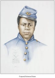 """Solomon Frister served in the United States Colored Troops. After the Civil War, he eventually made his way to Tennessee. He is believed to be buried in Nashville's Mount Ararat Cemetery, the first African American cemetery in Middle Tennessee. His portrait, created by artist Shayne Davidson, is part of the exhibit """"Seventeen Men: Portraits of Black Civil War Soldiers."""""""